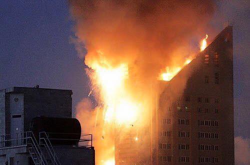#عاجل ll #بالصور احتراق برج و #مول تجاري في مدينة #مشهد الإيرانية