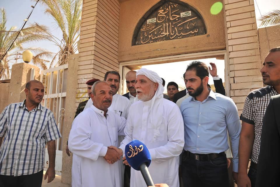 الدكتور الهميم يحضر صلاة الجمعة في جامع سيدنا الحسين بمدينة الفلوجة