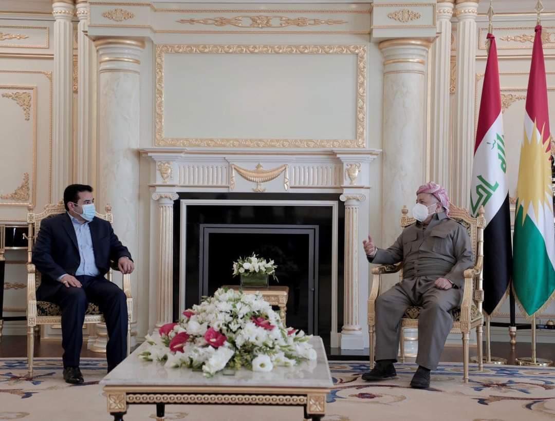 مستشار الأمن القومي السيد قاسم الأعرجي يلتقي في أربيل رئيس الحزب الديمقراطي الكردستاني السيد  مسعود بارزاني