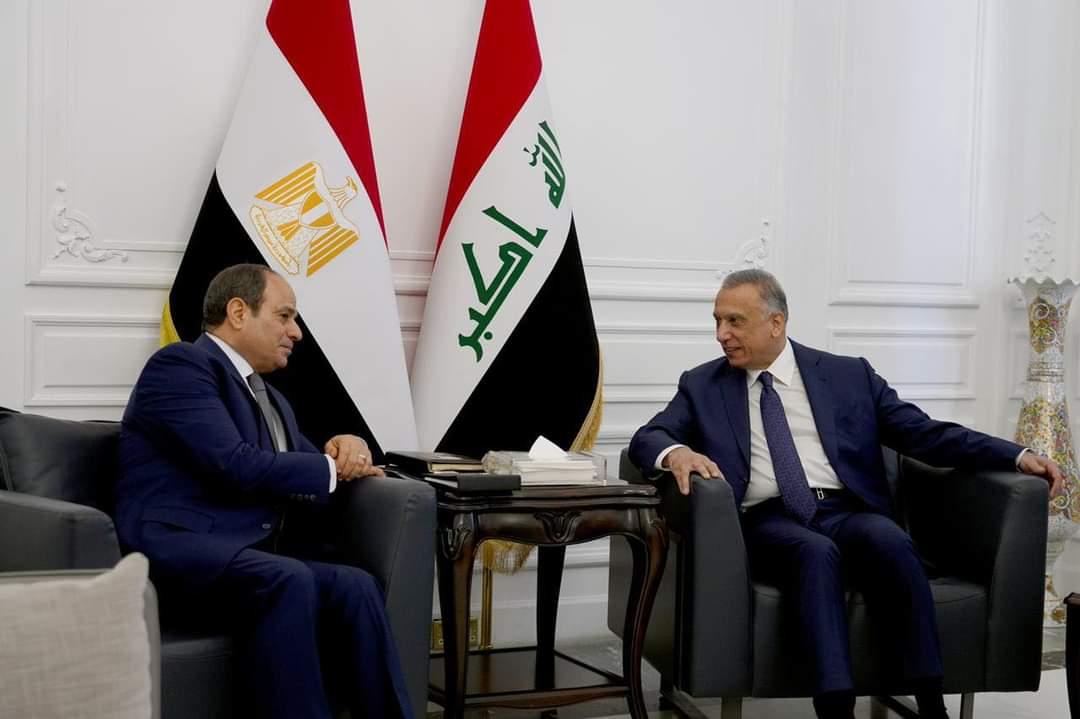 رئيس مجلس الوزراء السيد مصطفى الكاظمي والرئيس المصري يجريان مباحثات ثنائية